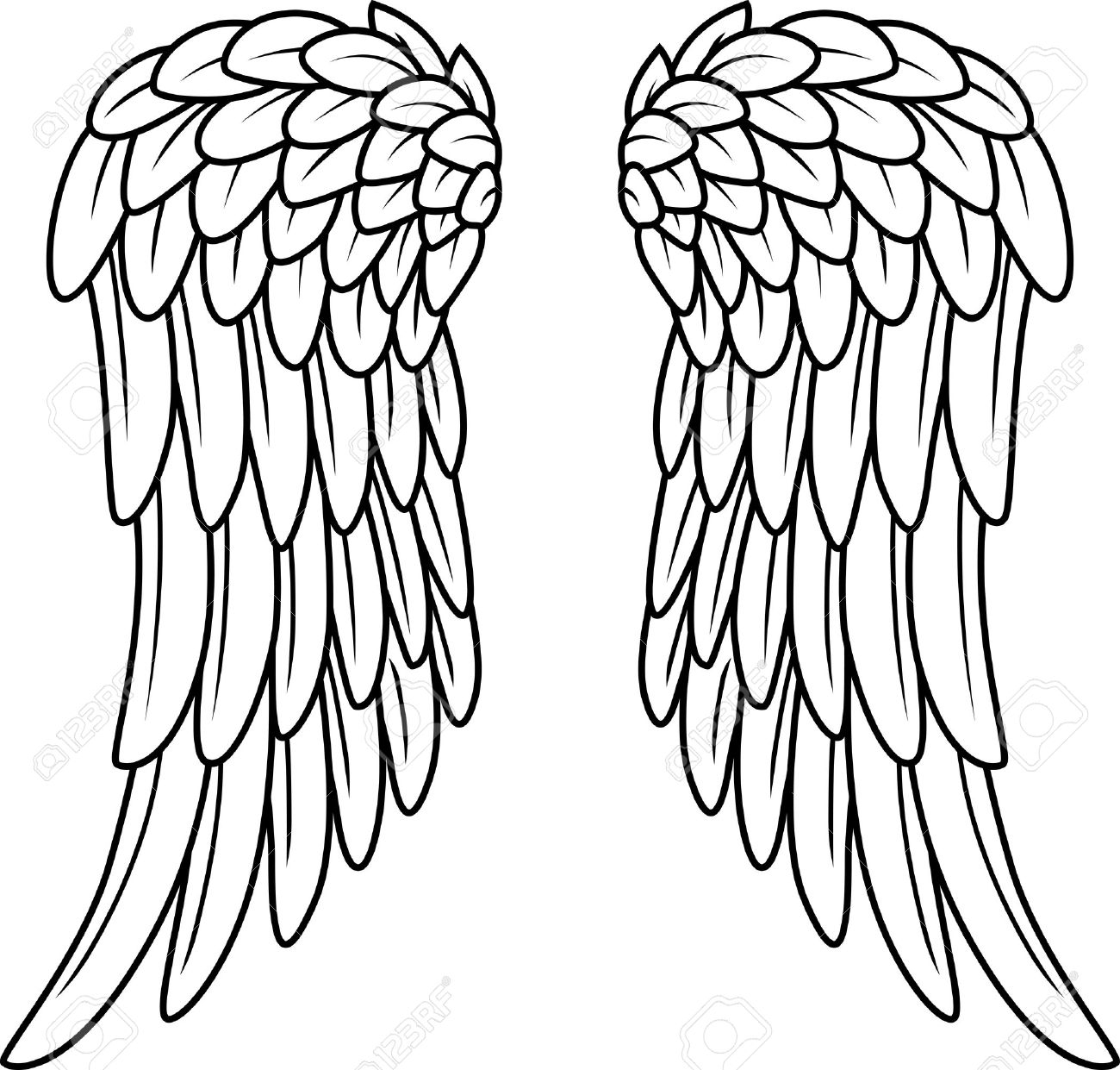 1300x1241 Angel Wing Cartoon Drawings