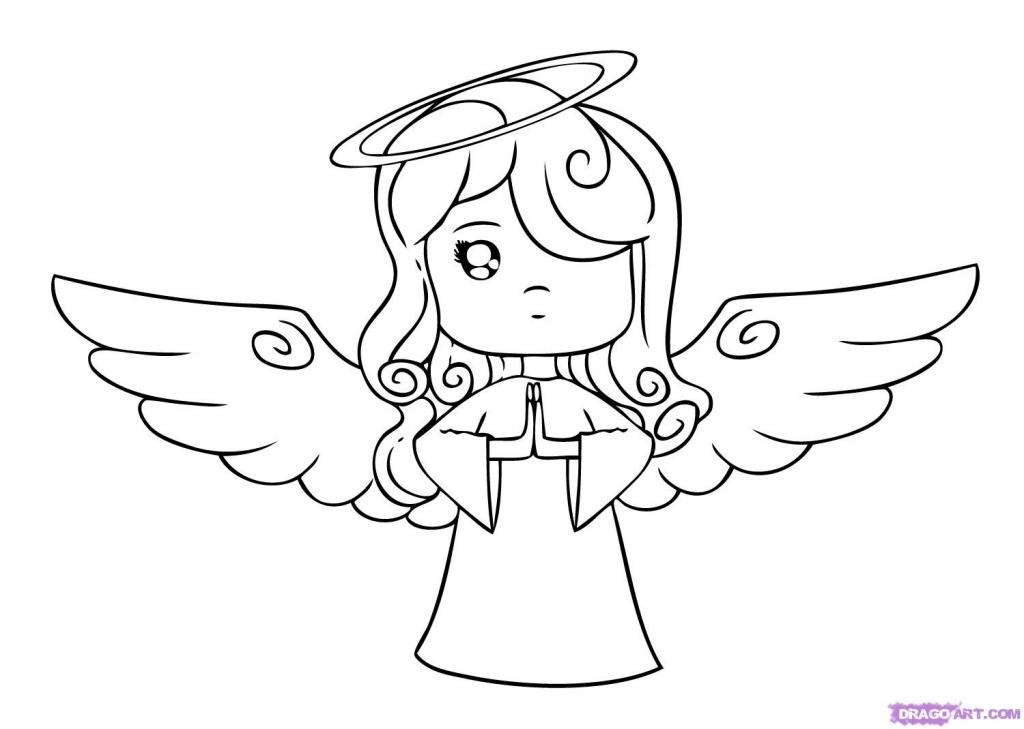 1024x729 Easy Angel Drawings Draw A Cartoon Angel Step Step Drawing Sheets