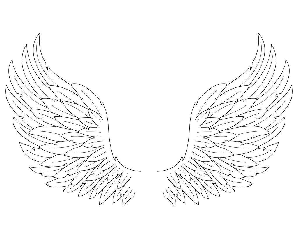 1024x819 Easy To Draw Angel Wings Simple Angel Wings Drawing Free