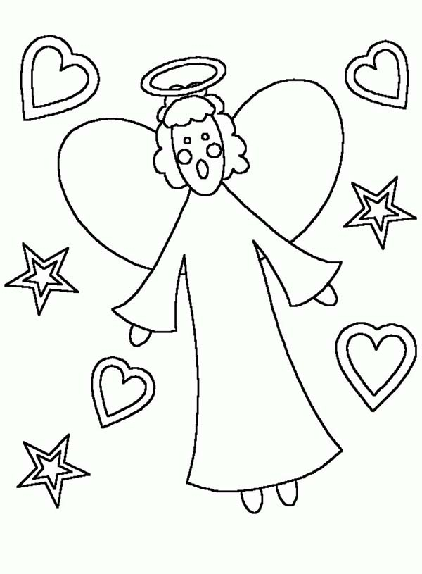 600x815 Kids Drawing Of Angels Coloring Page Color Luna