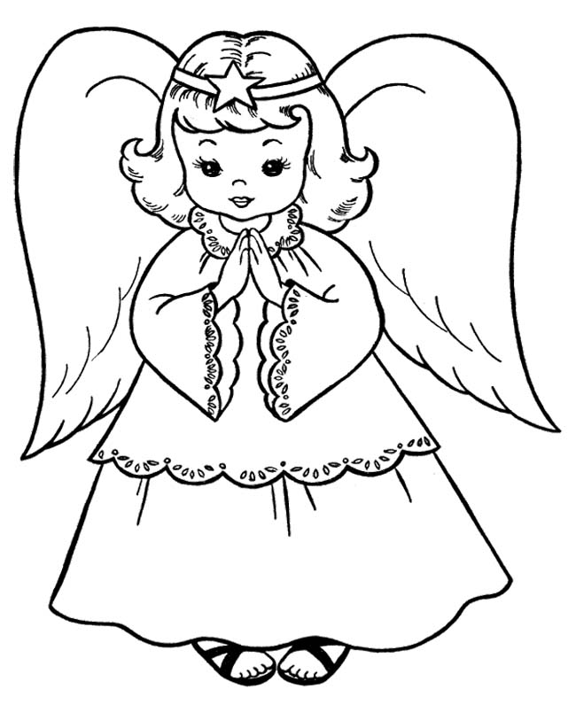 650x796 The Child Christmas Angel Coloring Page