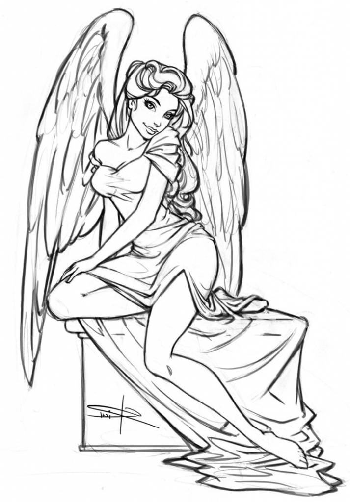 713x1024 Angel Drawings Sketches