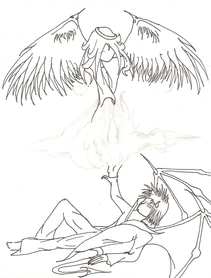 800x1054 Angel And Demon Outline By Fiendraphael