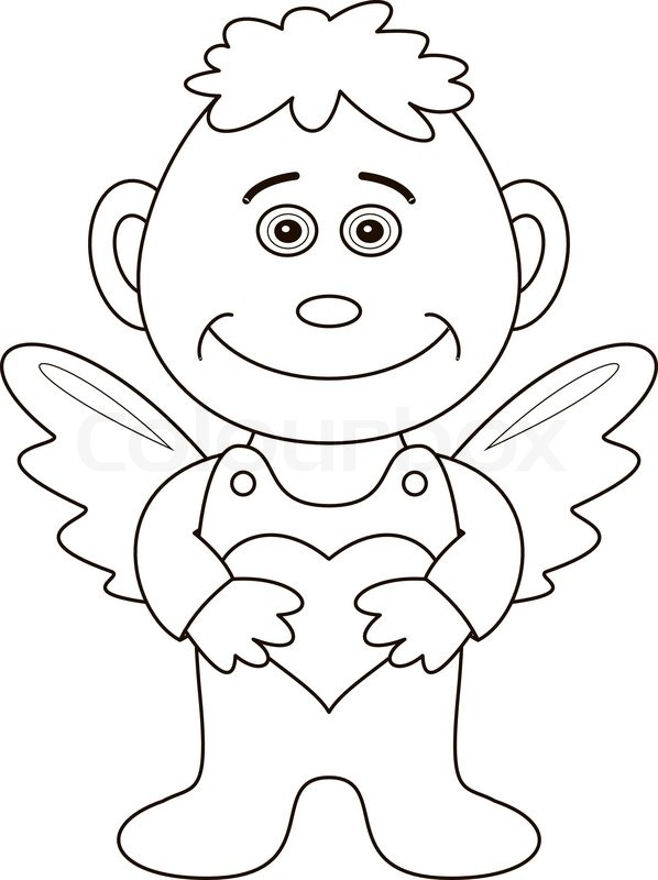 598x800 Boy Angel With Valentine Heart, Outline Stock Vector Colourbox
