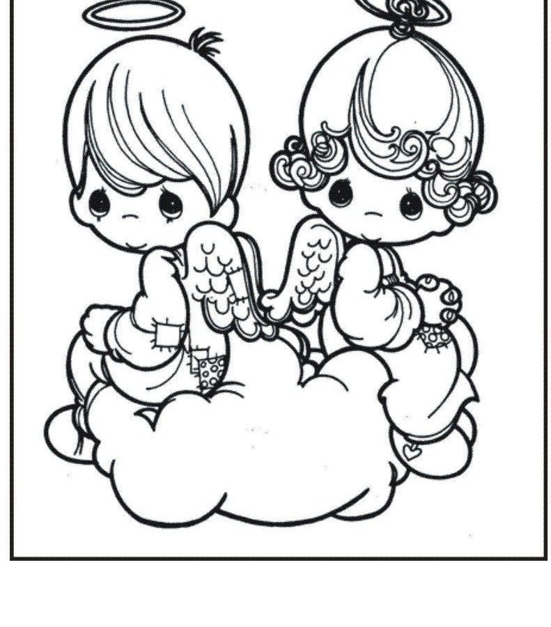 791x900 Free Christmas Coloring Pages Retro Angels The Graphics Angel Page
