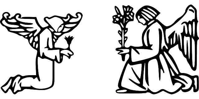 640x320 Two, Outline, Angel, Wings, Praying, Angels, Angeles