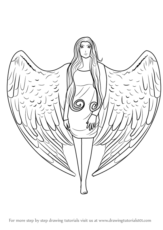 566x800 Learn How To Draw An Angel With Wings Angels Step Step How To Draw
