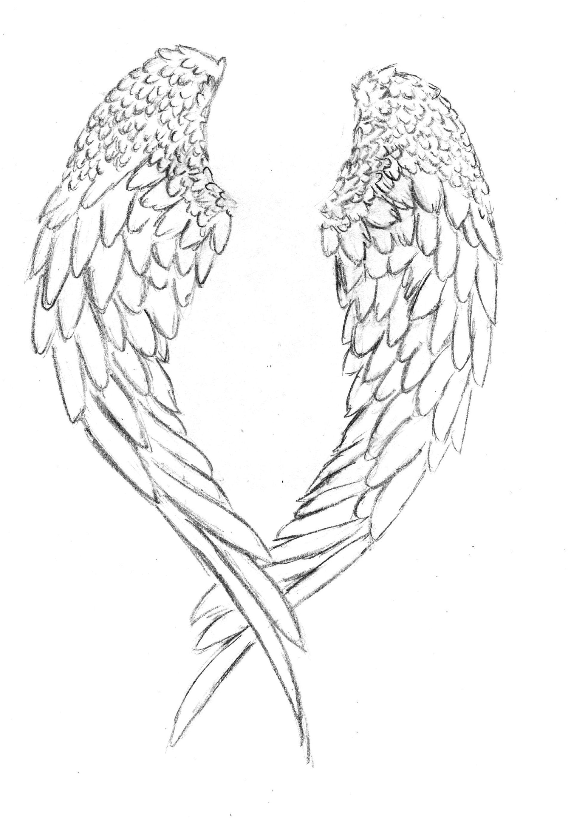 1915x2762 Simple Angel Wings Drawing How To Draw Angel Hearts, Step By Step
