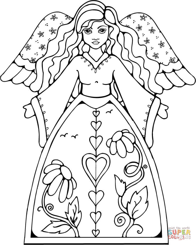 828x1035 Angel Coloring Pages For Kids Printable In Humorous Draw Pict
