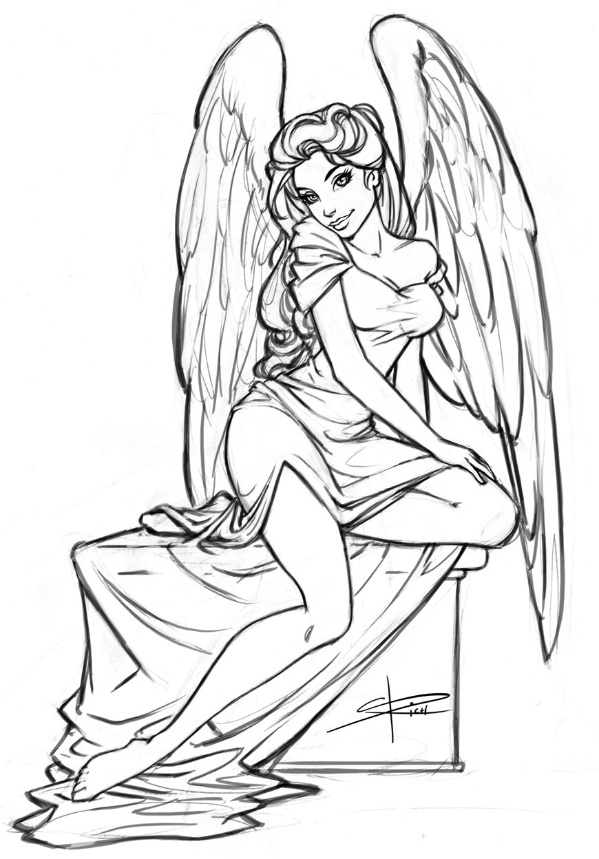 870x1248 Angel Picture For Sketch Drawing Angel Sketch By Sabinerich