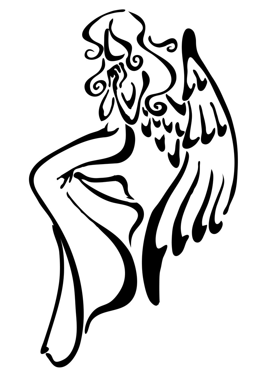 900x1275 Simple Angel Tattoo Drawings Pictures To Pin