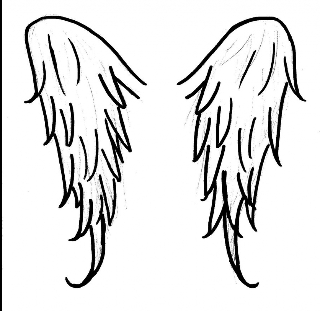 1024x996 Simple Angel Wing Drawings