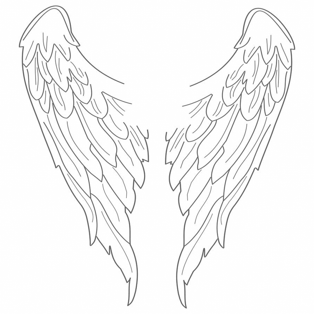 1024x1024 Simple Angel Wings Drawing