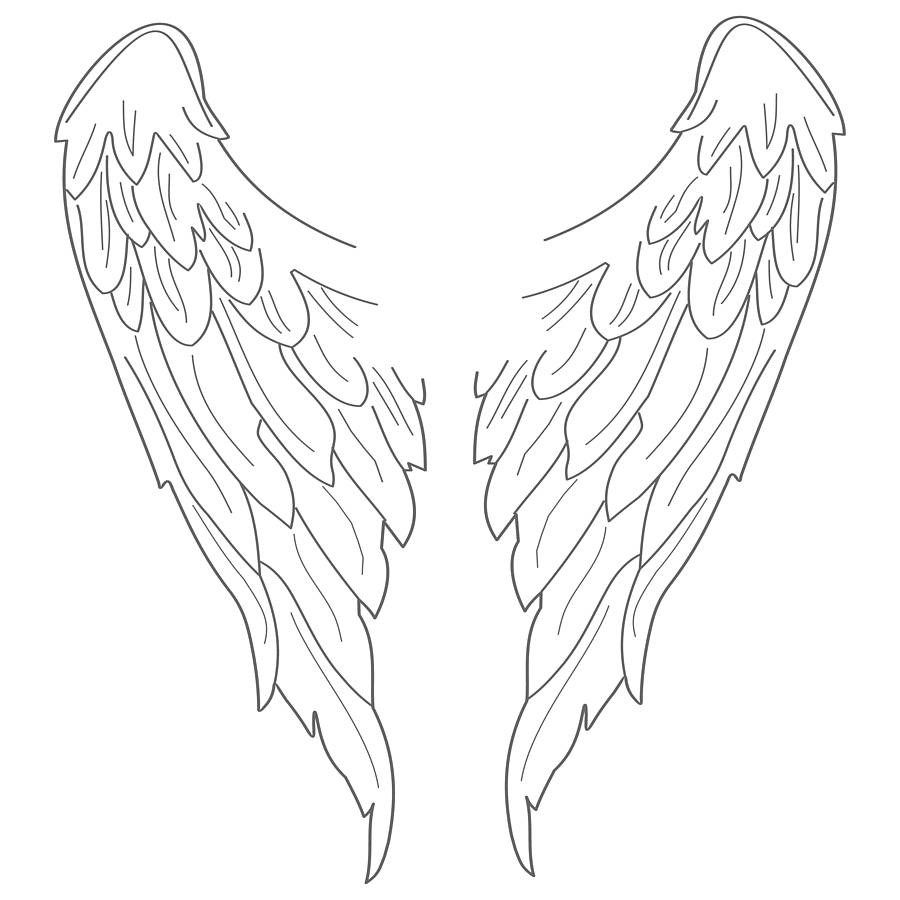 900x900 Simple Angel Wings Drawing Wings