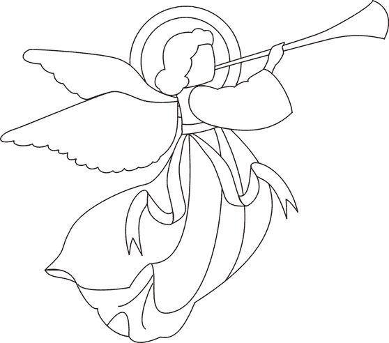 558x492 Simple Christmas Angel Line Drawing