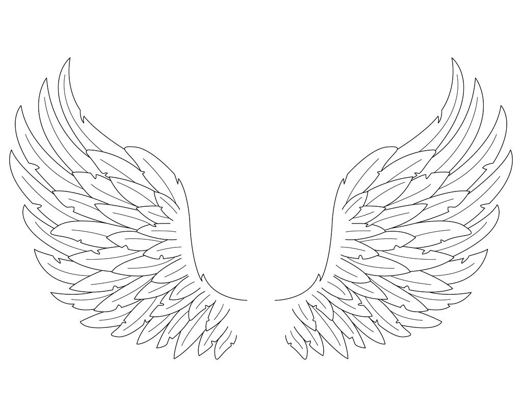 1024x819 Coloring Angel Wings Coloring Pages Simple Drawing Pics Of Wing