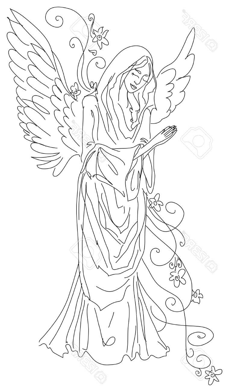 760x1300 Best Free Praying Angel Sketch Stock Photo Silhouette Drawing