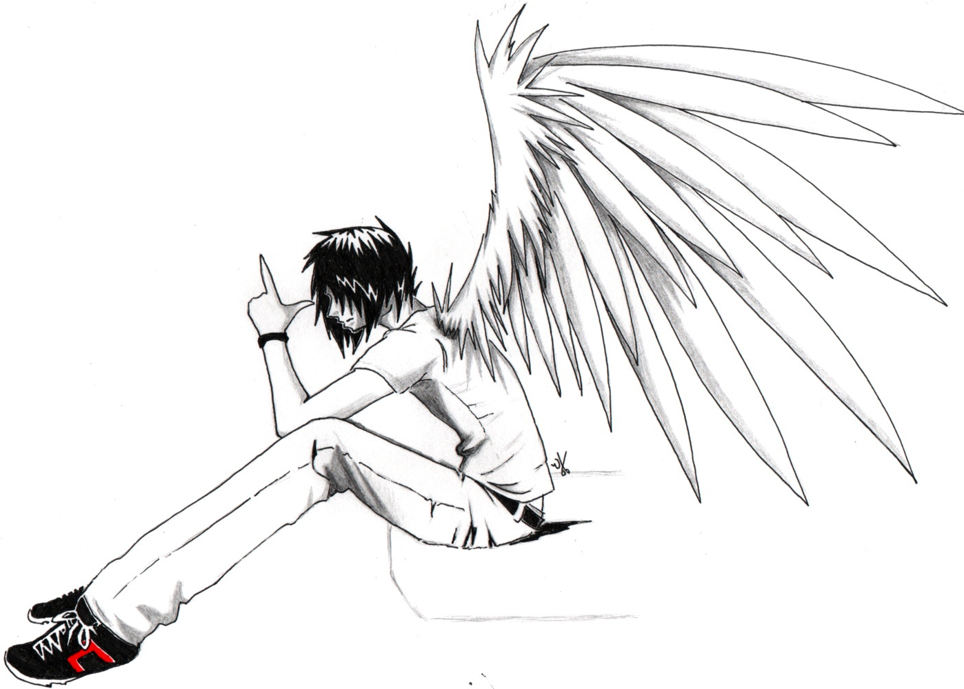 1398x999 Angel Anime Boy Drawings In Pencil Sad Pic For Boys Sketches Sad