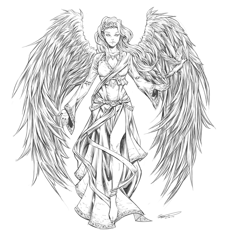 how to draw a dark angel