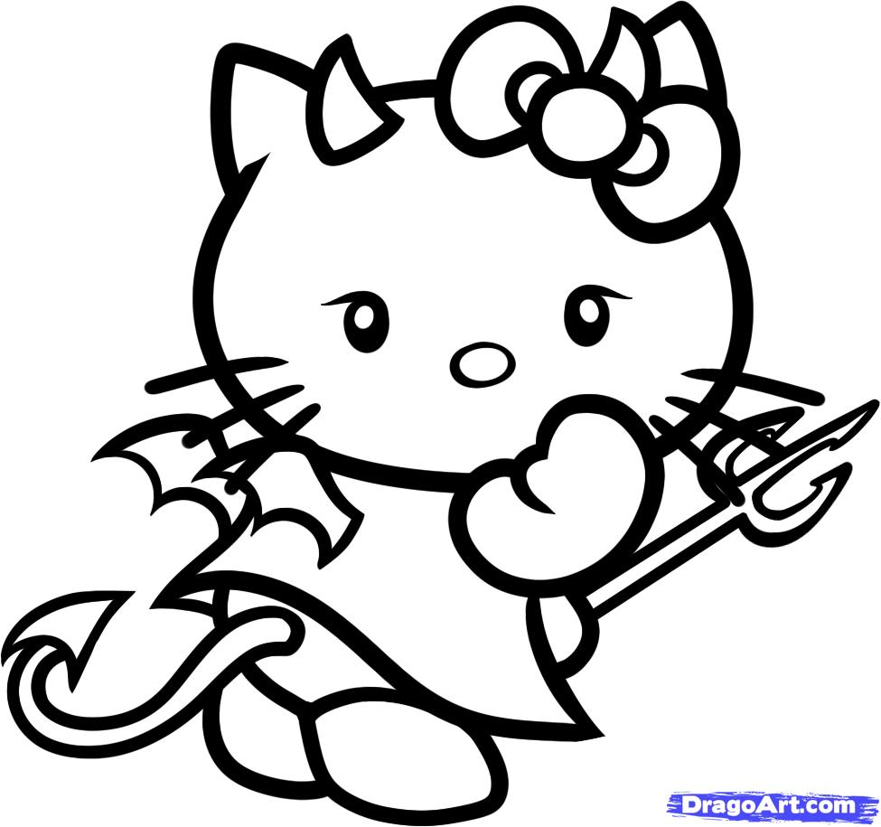 975x915 Devil Emoji Coloring Pages Draw Hello Kitty Step By Drawing
