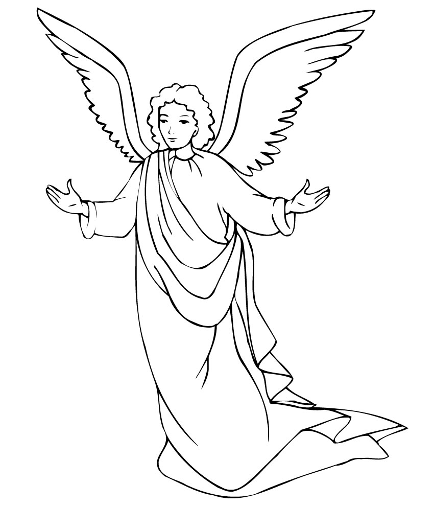 850x992 Angel Coloring Pages For Kids Preschool In Tiny Draw Paint
