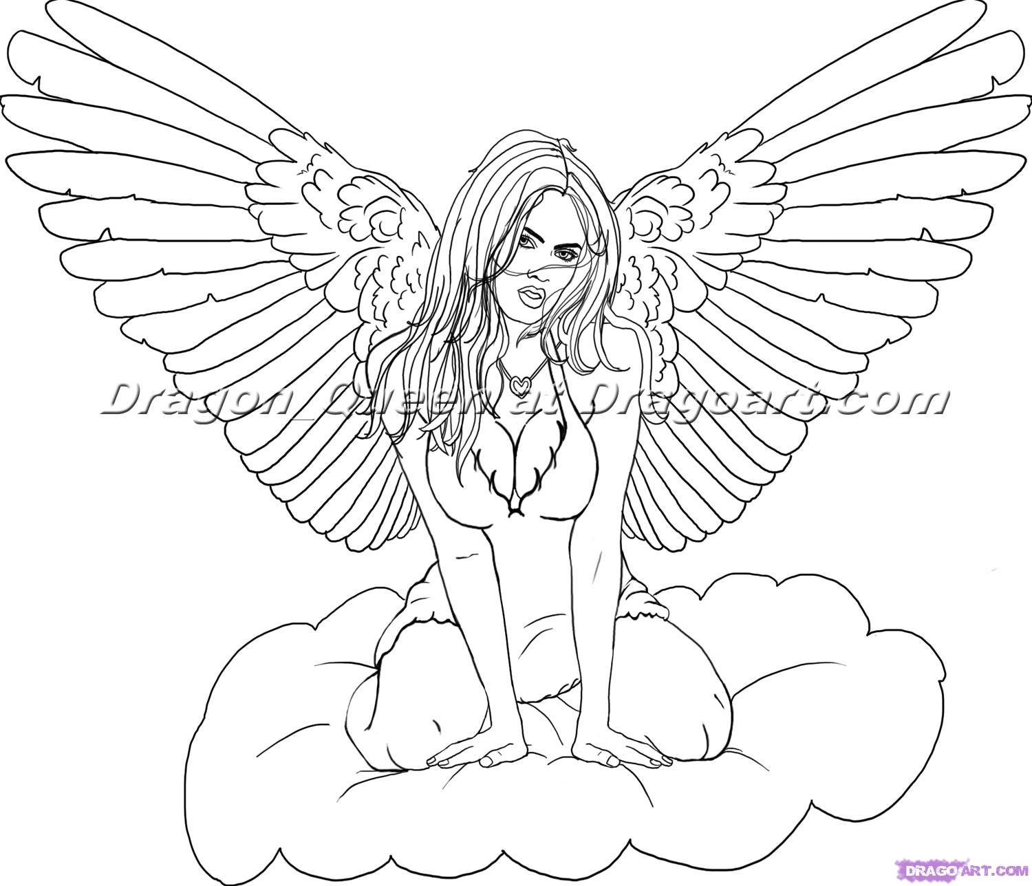 1500x1288 Line Drawings Of Angels