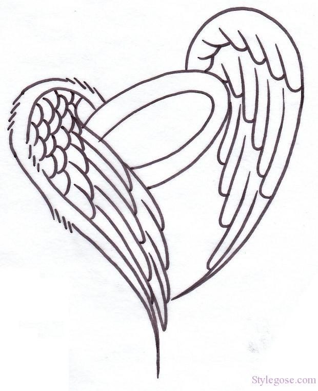 620x761 Heart Angel Wings Tattoos