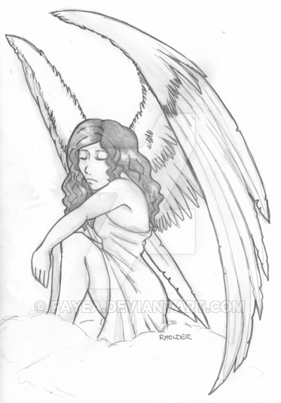 400x573 Tattoo Commission Angel Sketch By Fayea