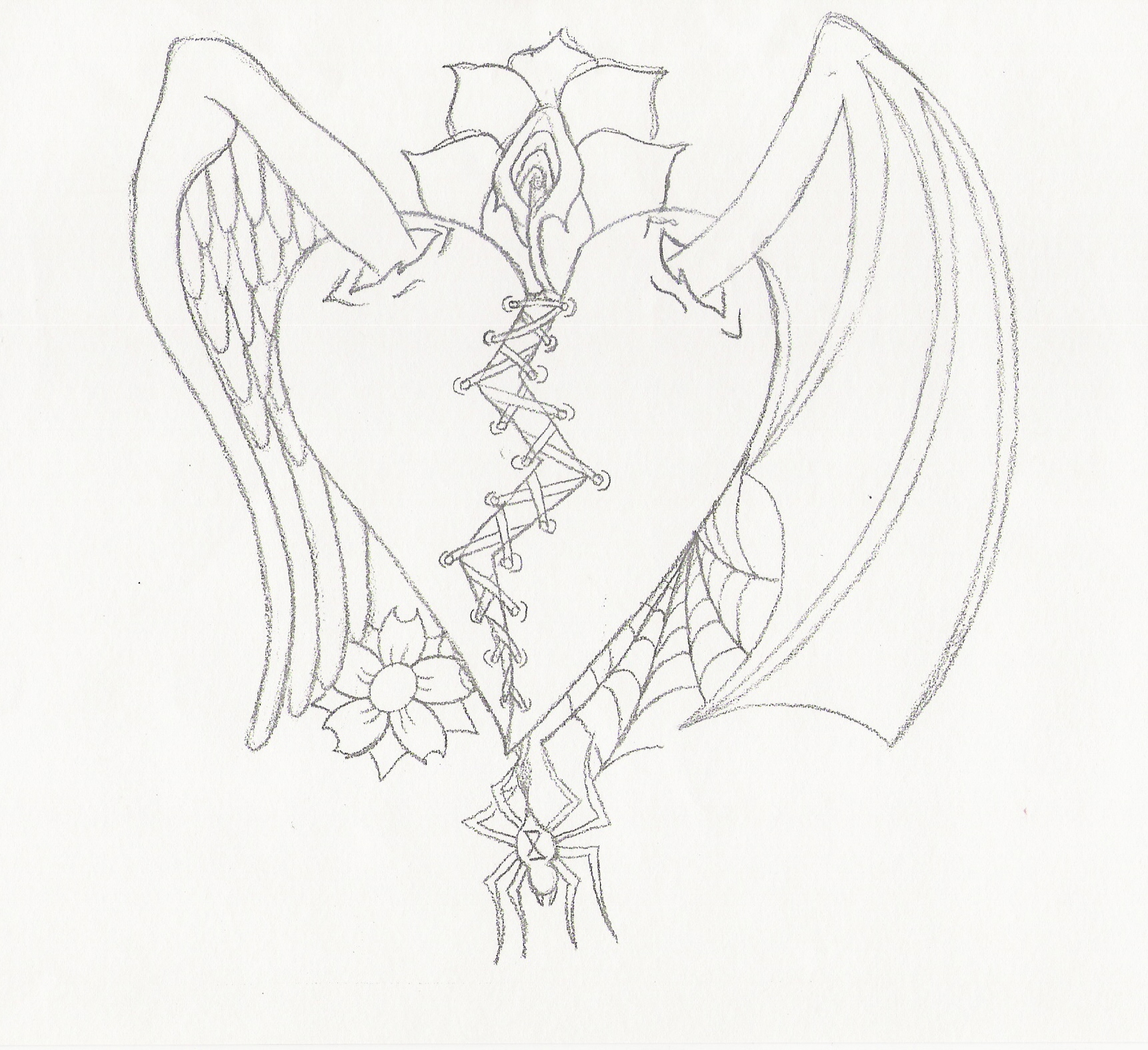 1722x1574 Good Vs. Evil Tattoo Picture Angel Outline Tattoo Heart