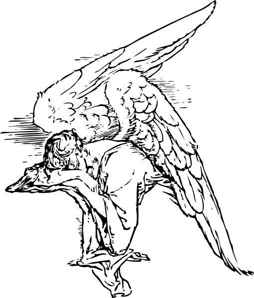 510x599 Grieving Angel Tattoo Clip Art Free Vector In Open Office Drawing
