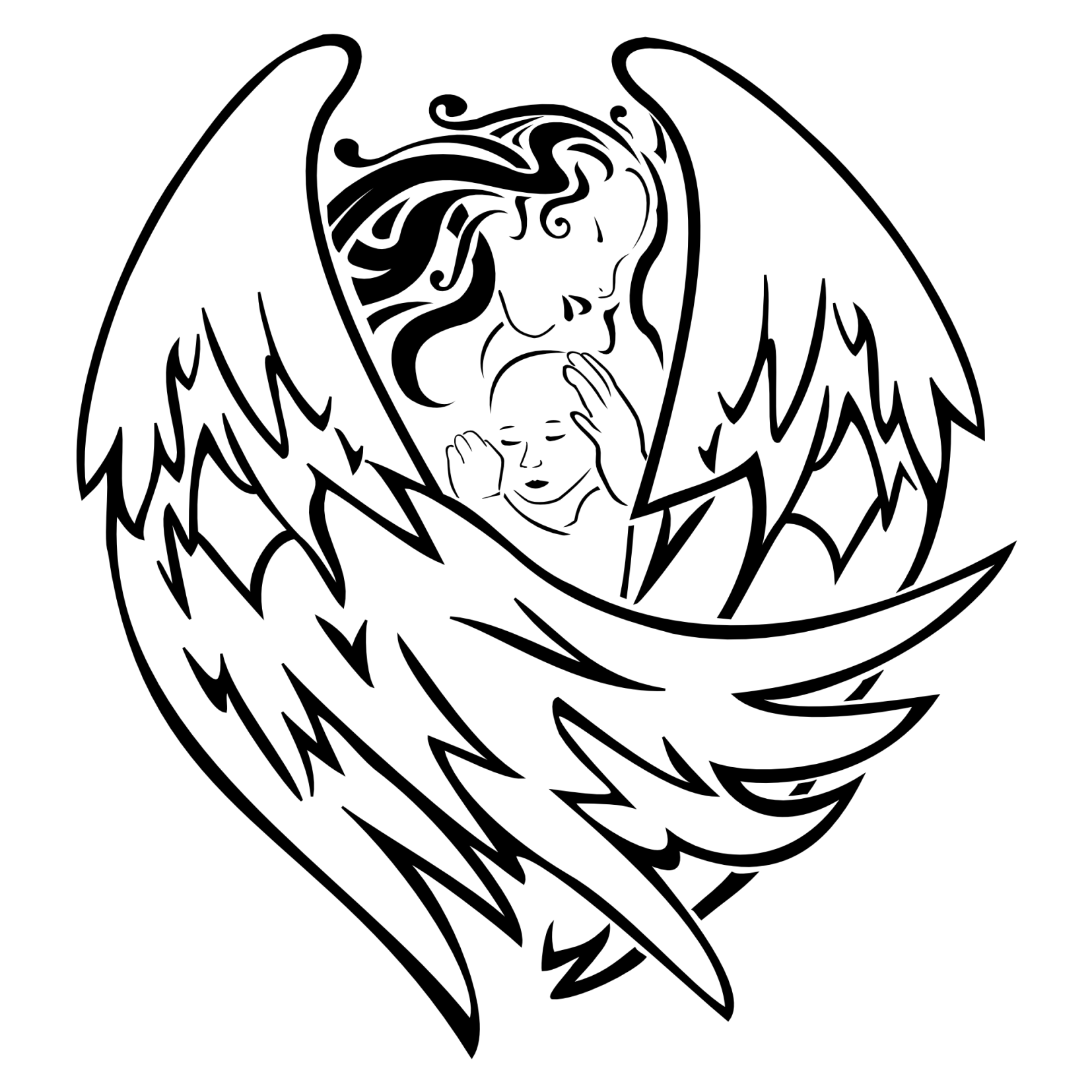 1654x1654 Tattoo Of Angel And Baby, Birth, Protection, Love Tattoo