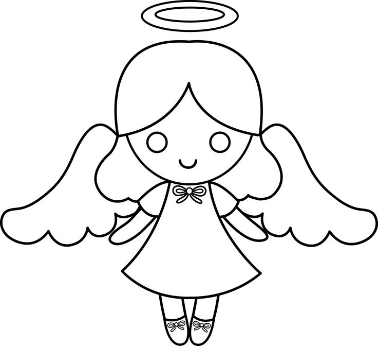 736x672 Angel Clipart Outline Drawing