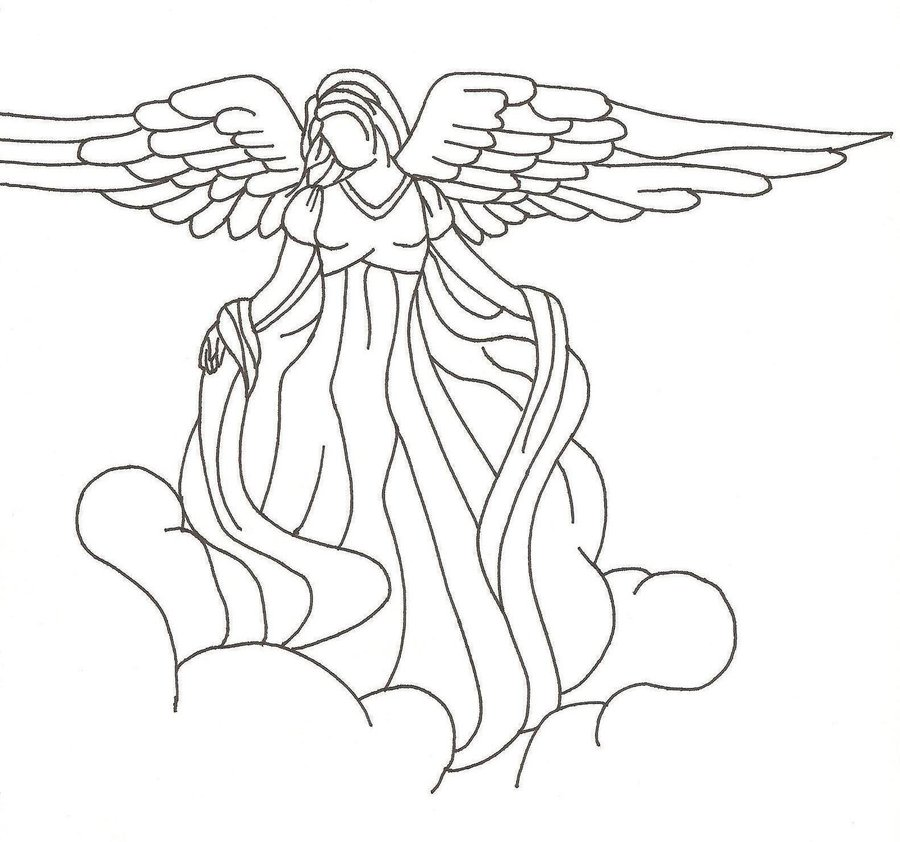 900x842 Photos Guardian Angel Line Drawing,
