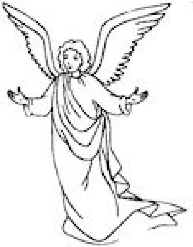 640x820 Angel Coloring Page Christmas Simple