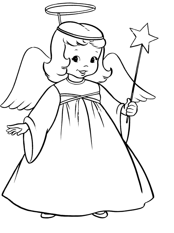 612x820 Simple Christmas Angel Line Drawing
