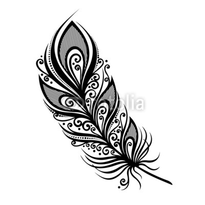 400x400 Peerless Decorative Feather (Vector), Patterned Design, Tattoo