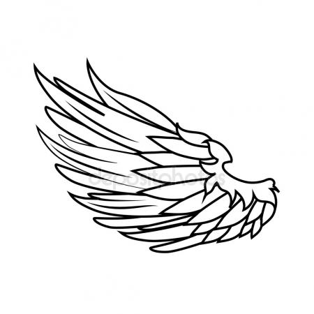 450x450 Wing Feather Animal Bird Angel Icon. Vector Graphic Stock Vector