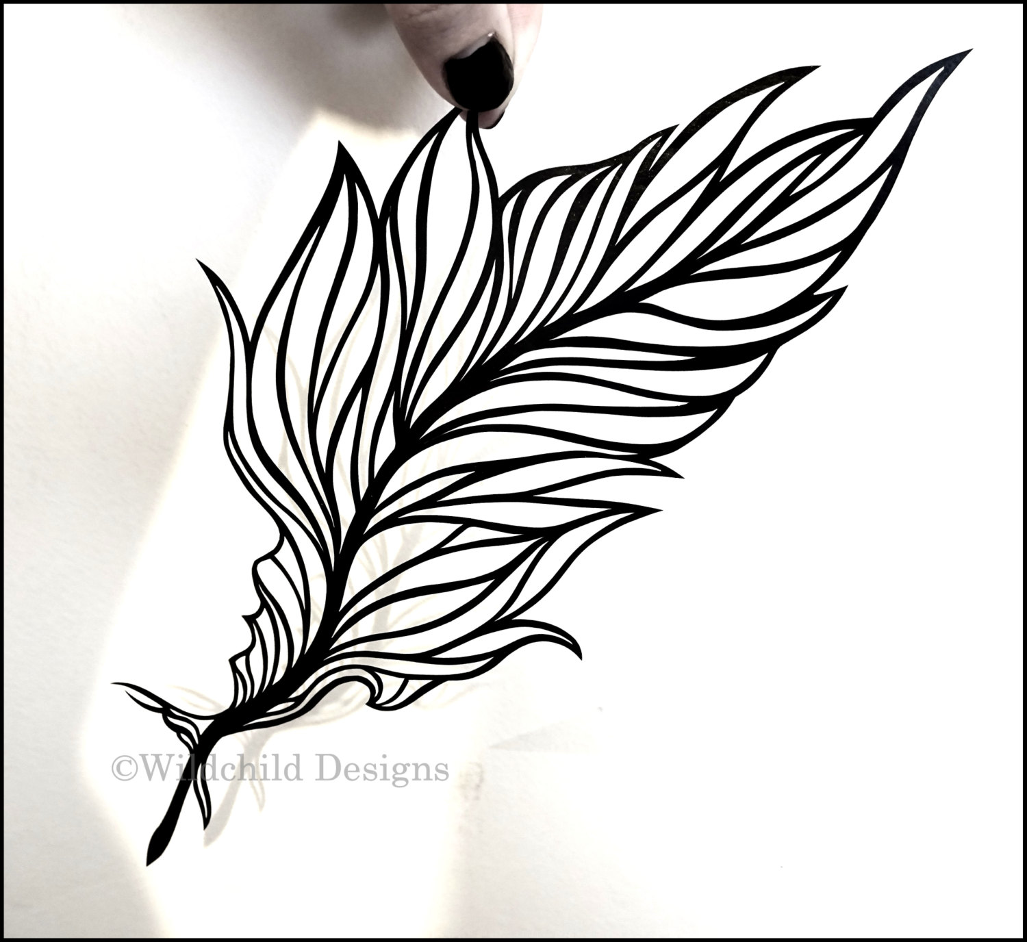 1500x1376 Angel Feather Blowing Kiss Silhouette Papercutting Template
