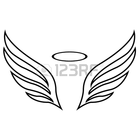 450x450 Angel White Wings Sketch Pattern. Royalty Free Cliparts, Vectors