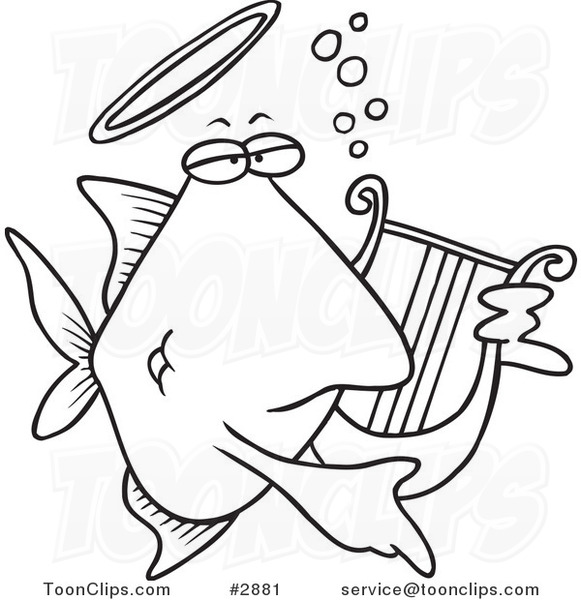 581x600 Cartoon Blacknd White Line Drawing Ofnngelfish Playing