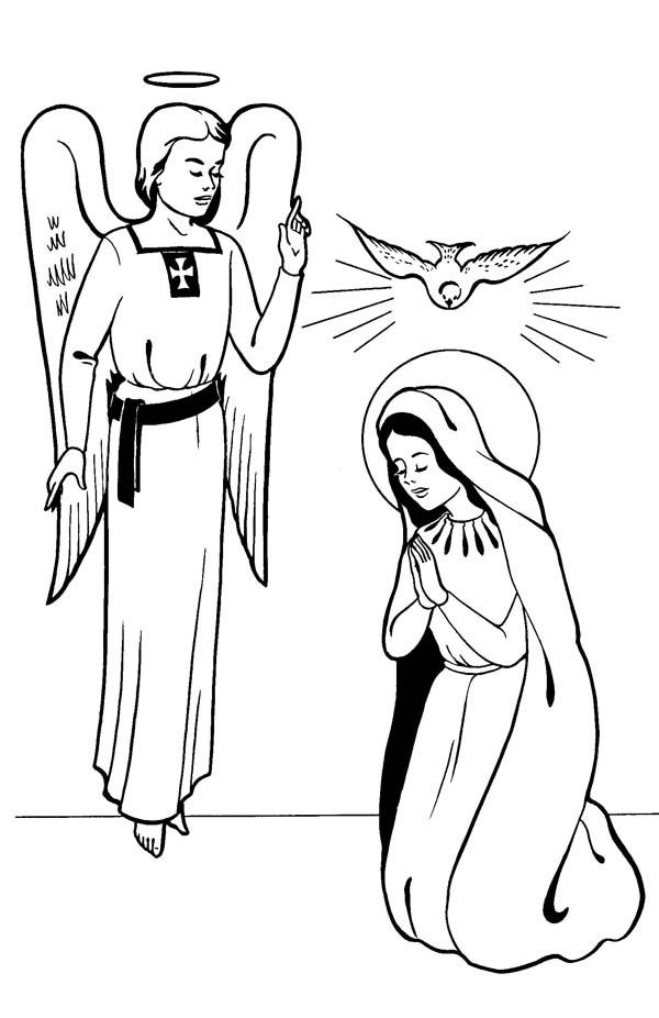 600x926 Annunciation With Angel Gabriel All Saints Day Coloring Page
