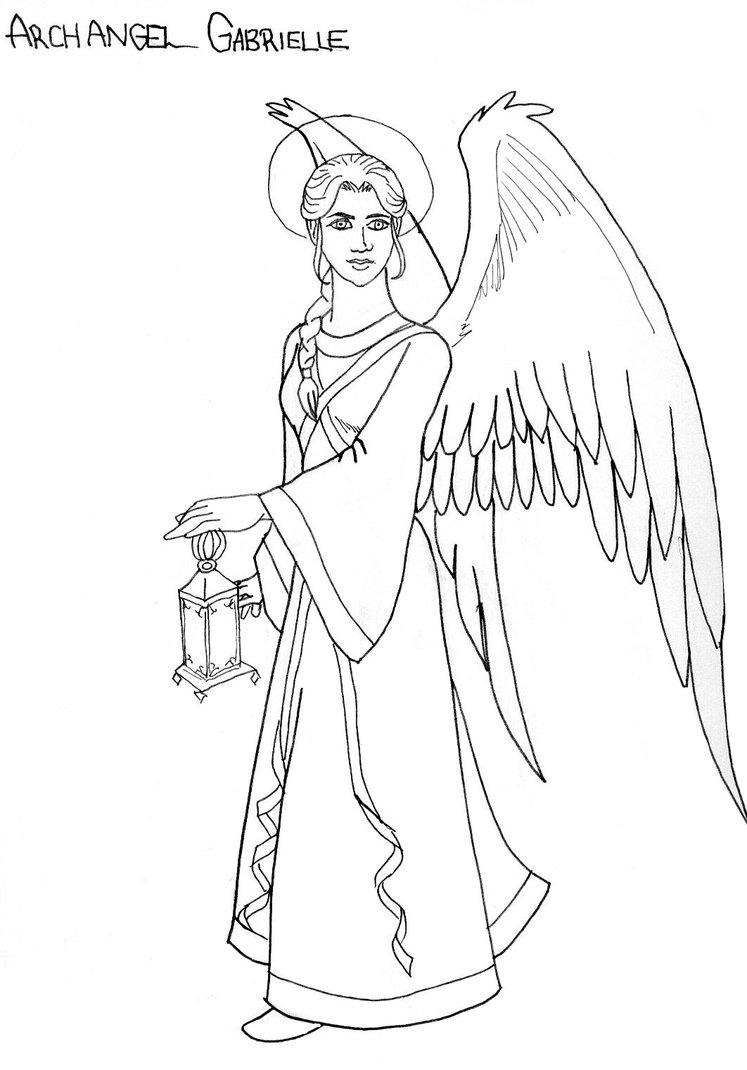 747x1070 Archangel Gabriel Line Art By Doublevisionary