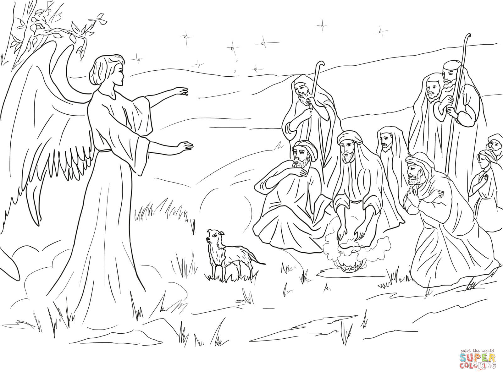 1600x1200 Angel Gabriel Announcing The Birth Of Christ To Shepherds Coloring