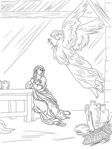 360x480 Angel Gabriel Visits Mary Coloring Page Free Printable Coloring
