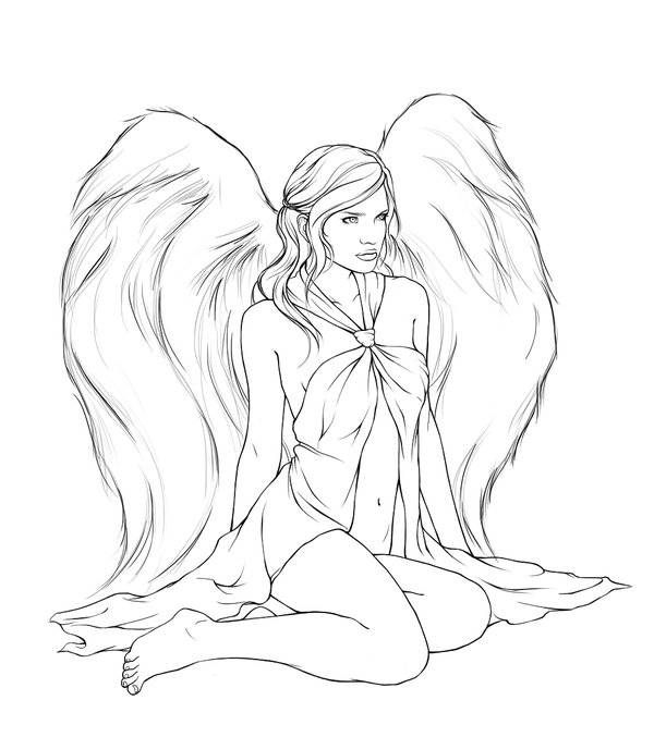 600x677 Attractive Outline Angel Girl Tattoo Design