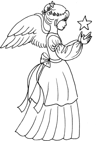 343x480 Christmas Angel Girl With Star Coloring Page Free Printable