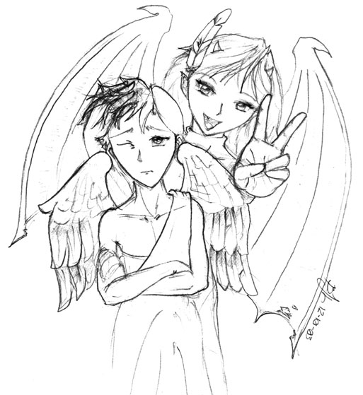 513x559 Demon Girl And Angel Boy 2 By Eye Eye