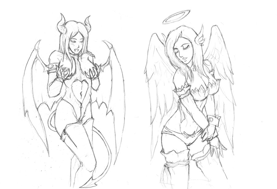 900x615 Devil N Angel Girl Tattoo Sketch