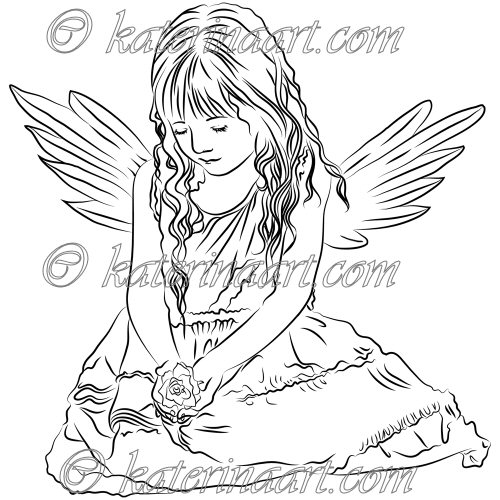 500x500 Digital Stamp Little Angel Girl Printable Coloring Page