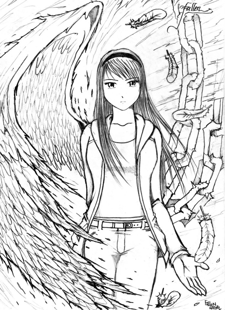 761x1049 Anime Fallen Angel Drawing